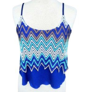 New Blue & Gold Chevron Crochet Cropped Tank Top
